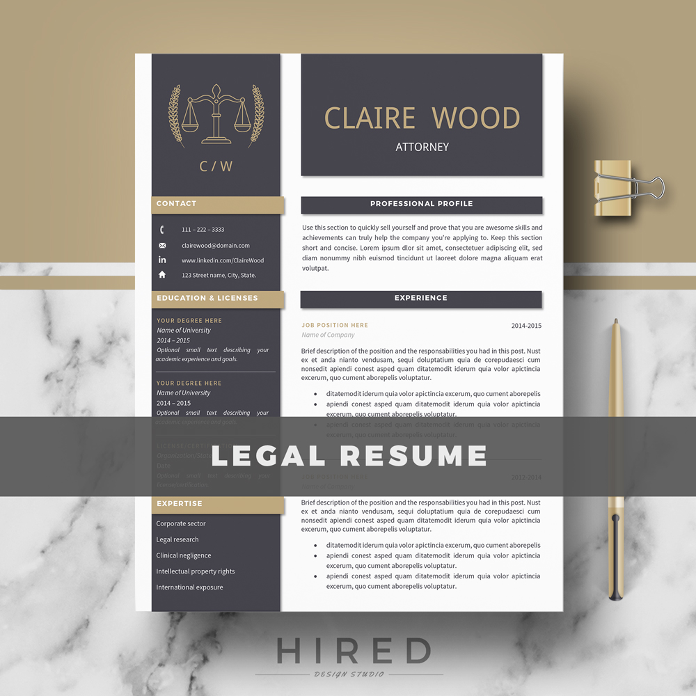 Legal Resume Template Archives  Hired Design Studio
