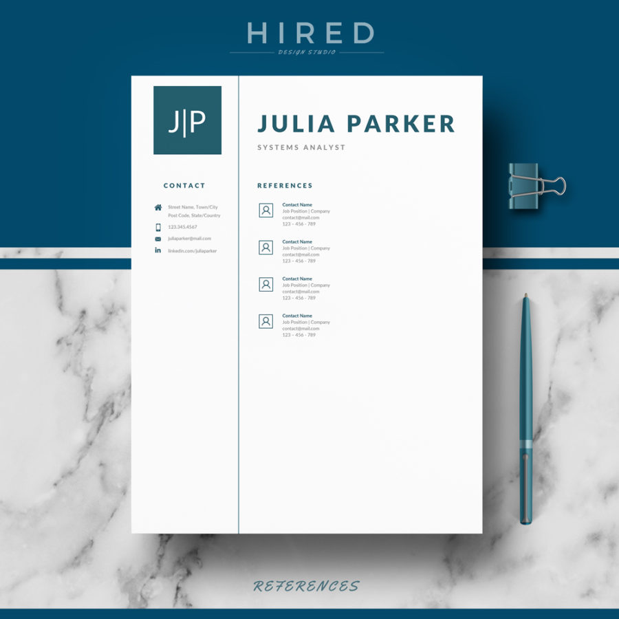 """Professional, Modern and Minimalist Resume Template for MS Word: """"Julia"""""""