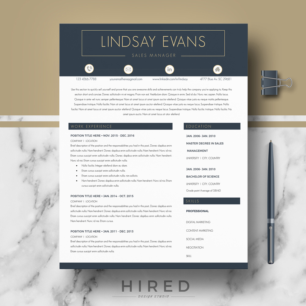Professional Cv Resume Templates: Hired Design Studio