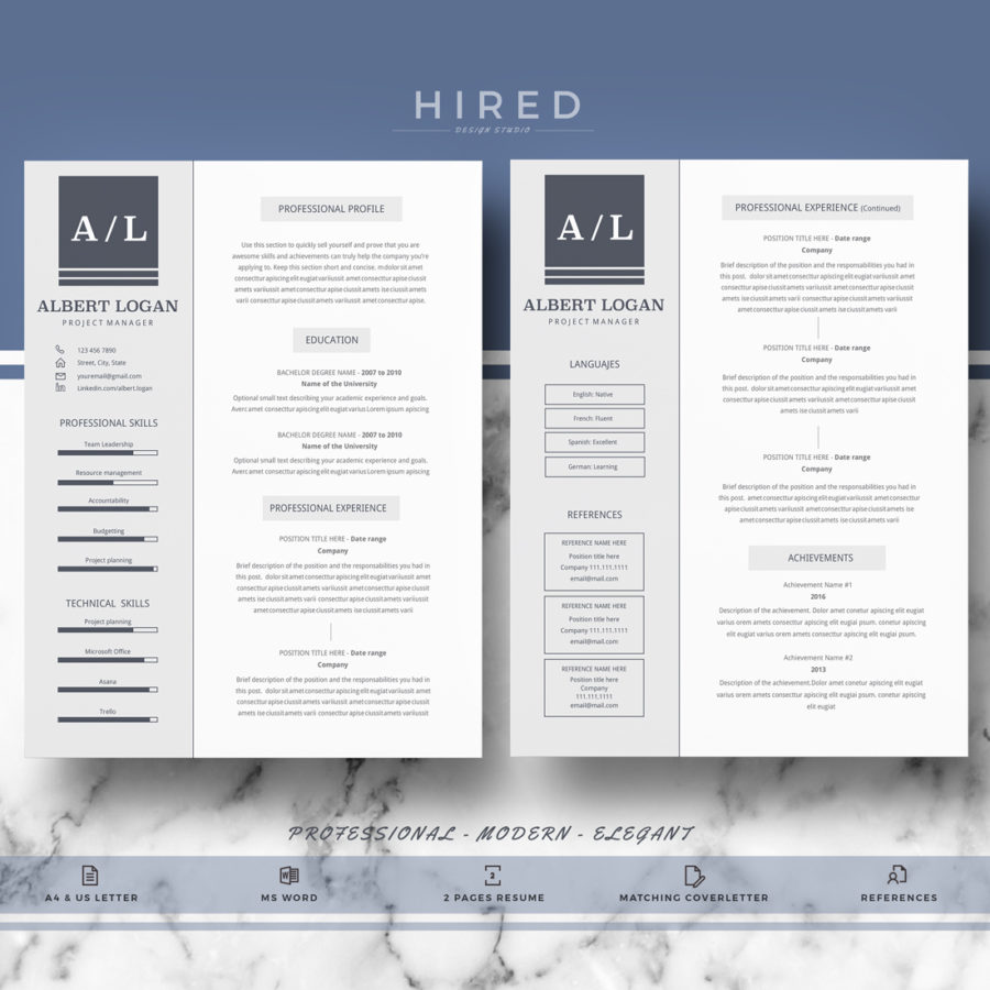 "Professional, Modern and Minimalist Resume Template for MS Word: ""Albert"""