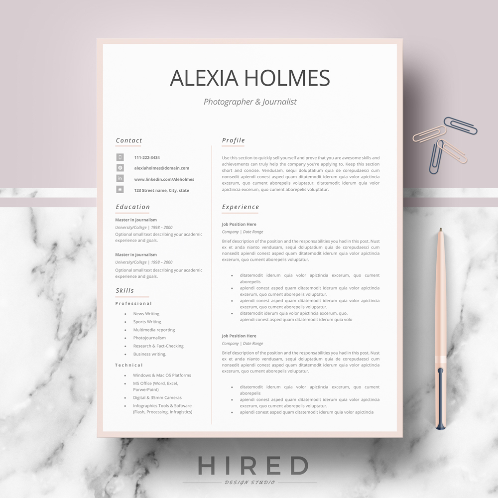 Minimalist Resume Archives Hired Design Studio
