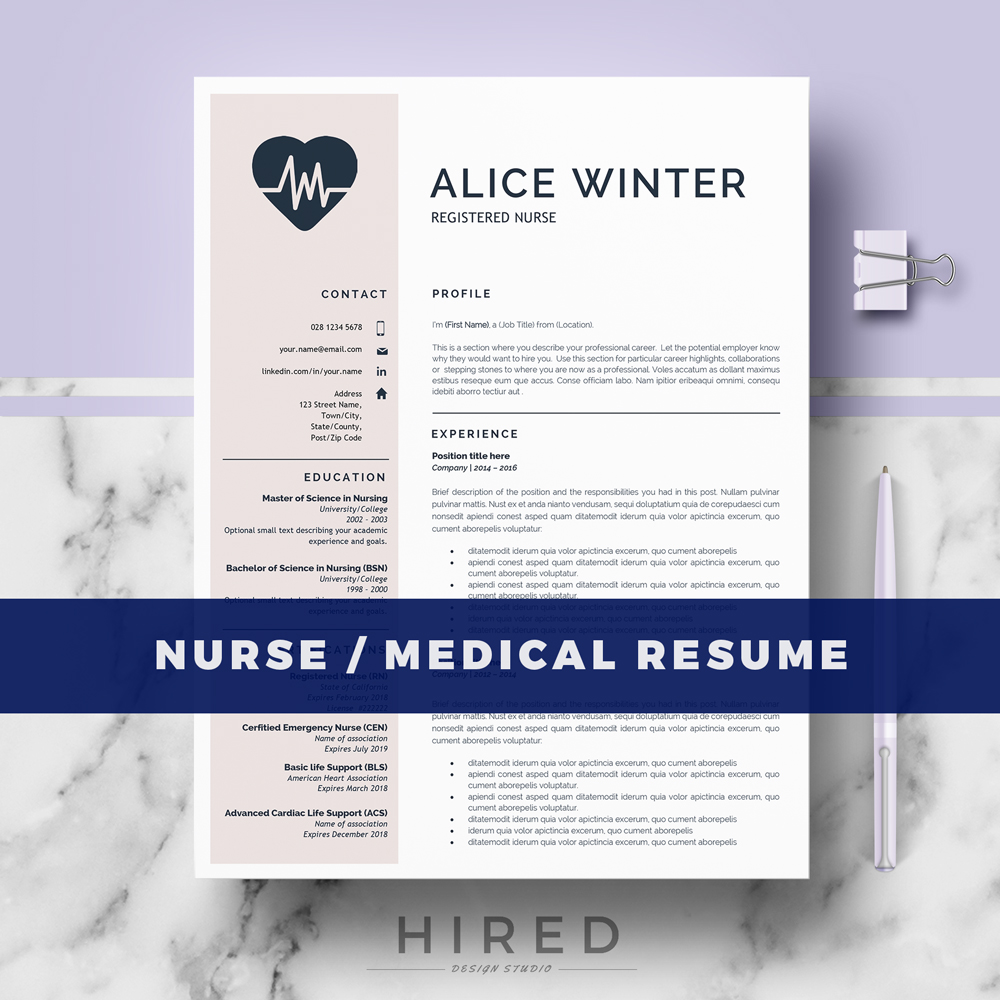 nursing professional portfolio template - resume templates hired design studio