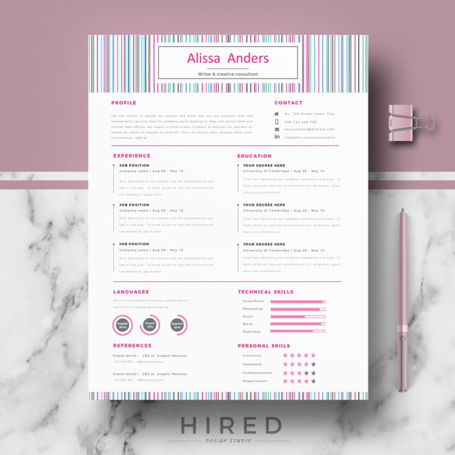 Modern Resume Archivos Hired Design Studio