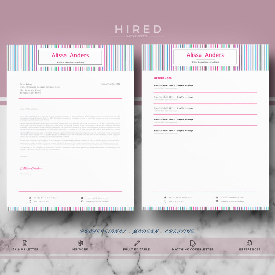 Creative Resume Template Archivos  Hired Design Studio