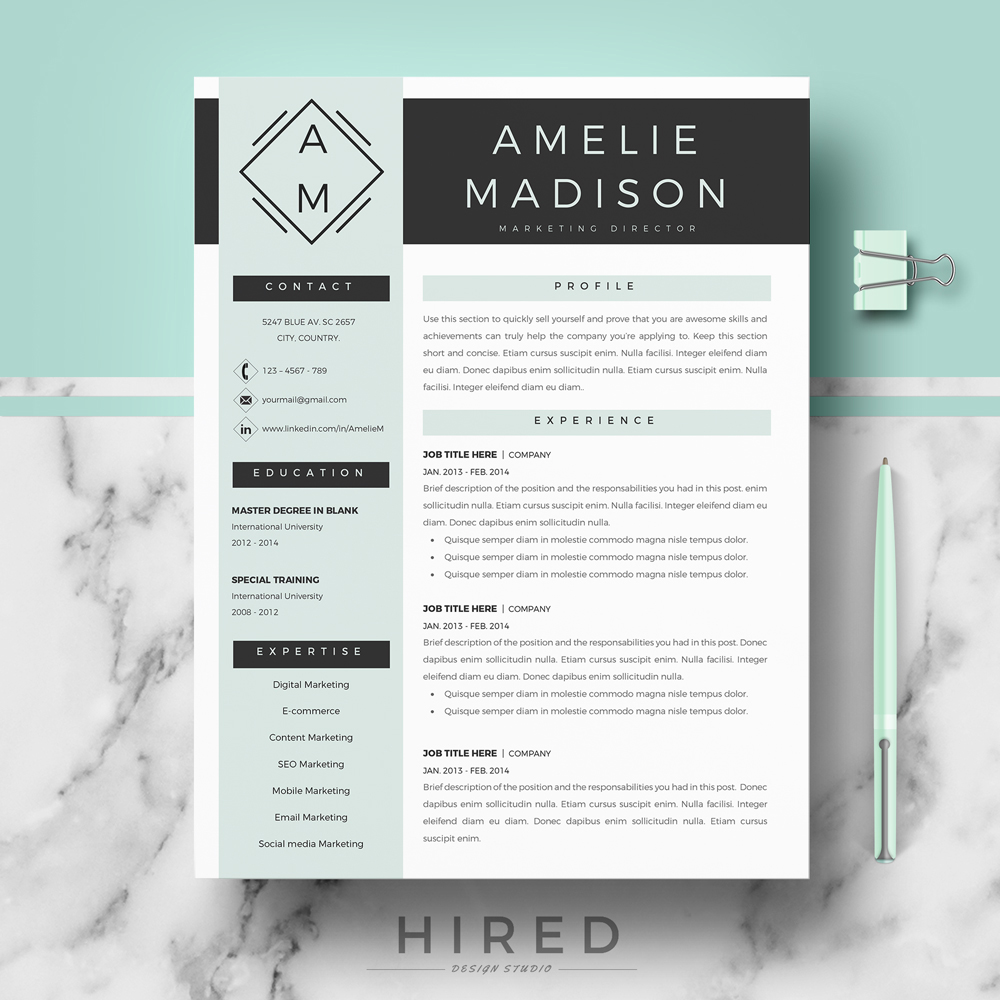 Modern resume template archives hired design studio amelie thecheapjerseys Image collections