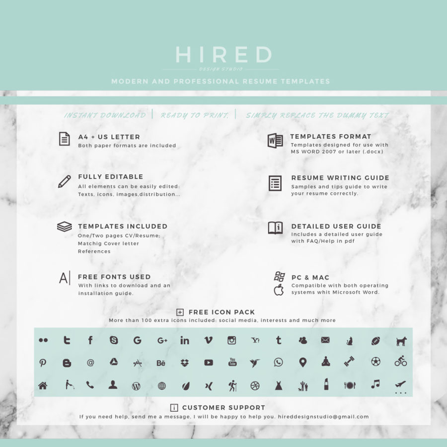 Professional  Modern Resume Template For Ms Word Amelie  Hired