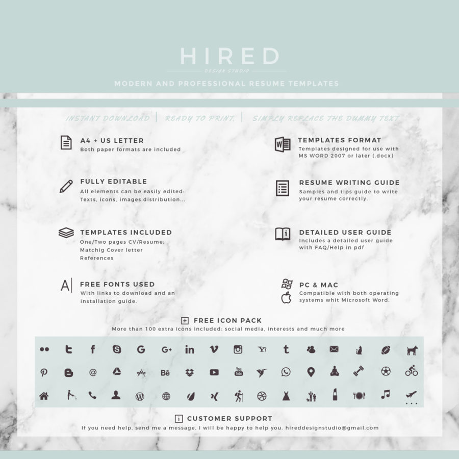 "Professional & Modern Resume Template for MS Word: ""Angelica"""