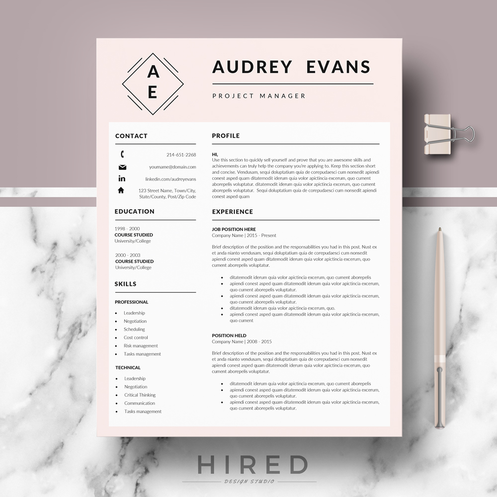 Creative Resume Template Archives Hired Design Studio - Buy creative resume templates