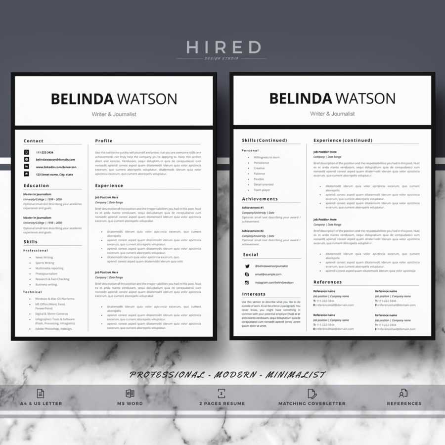 professional  modern and minimalist resume template for ms word   u0026quot belinda u0026quot