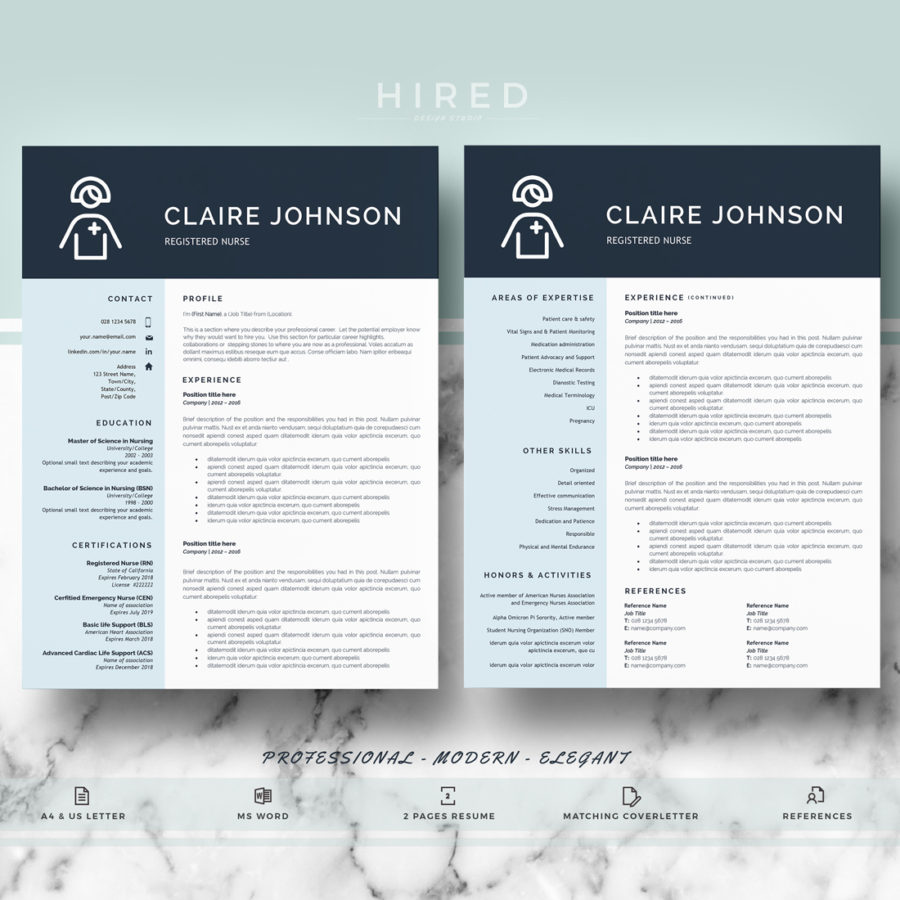 Nurse Resume Template for MS Word: \