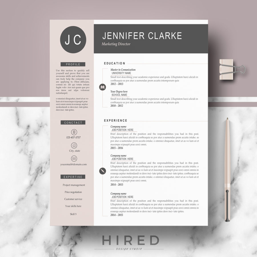 "Professional & Modern Resume Template for MS Word: ""Jennifer"""