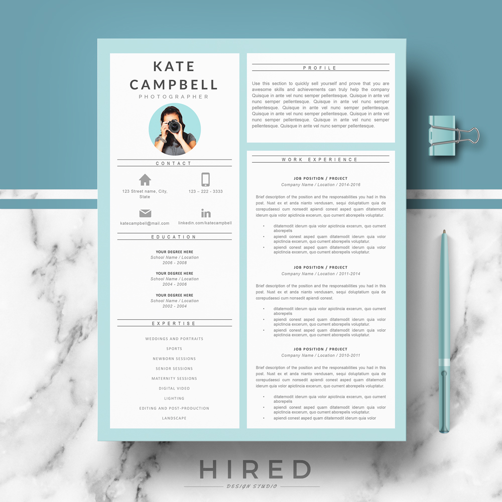 Modern resume template archives hired design studio kate 2 altavistaventures Image collections