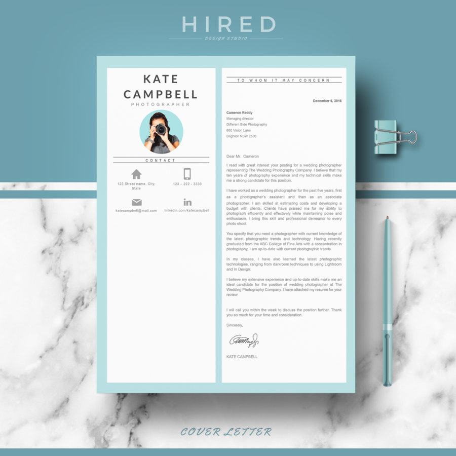 "Modern Resume Template for MS Word: ""Kate-2"""
