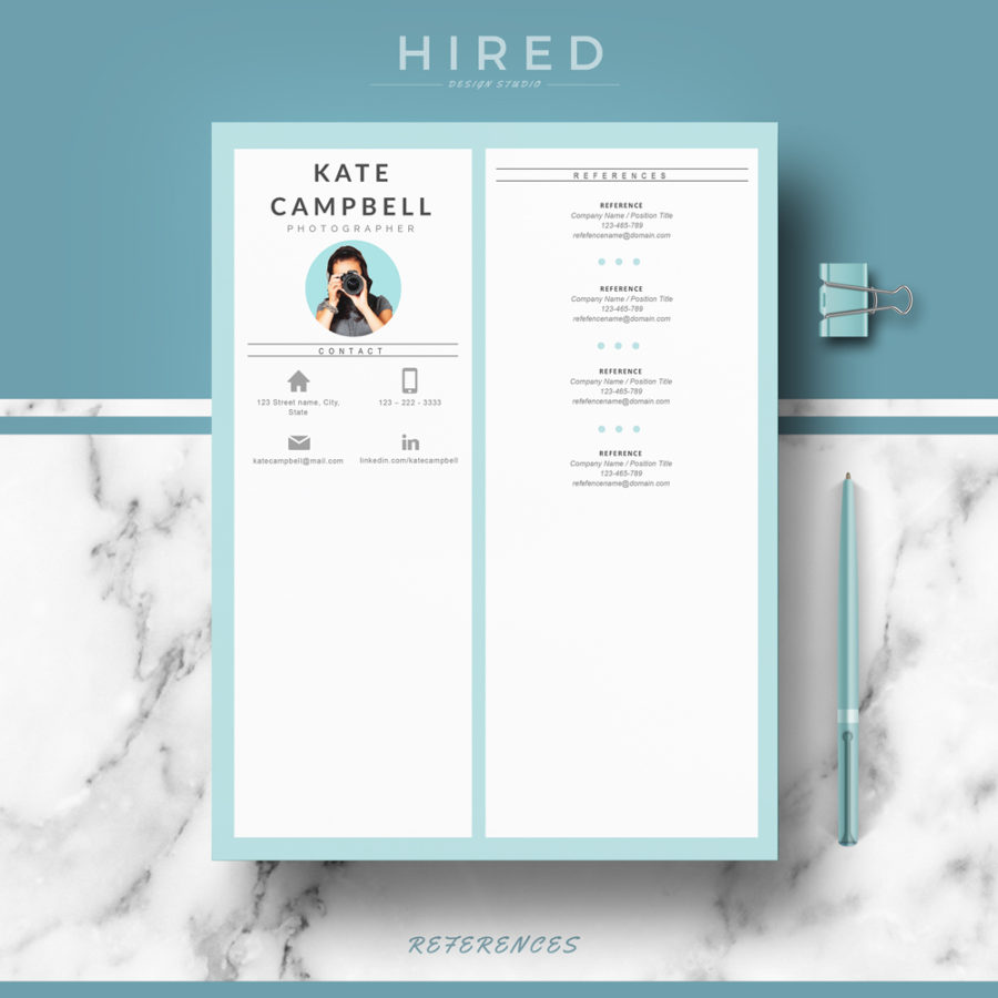 Modern Resume Template For Ms Word Kate  Hired Design Studio