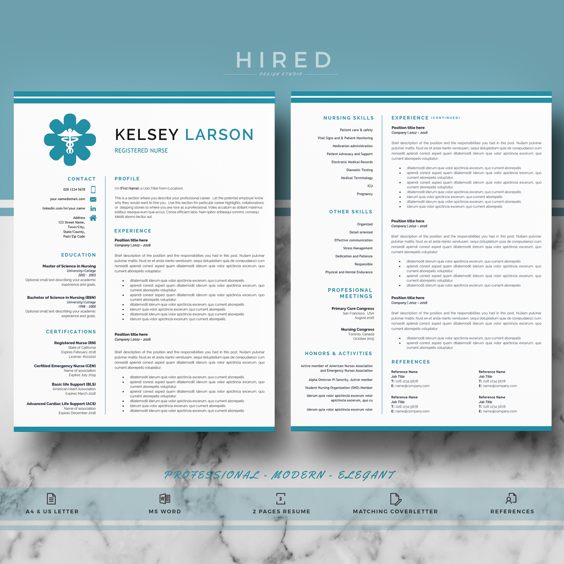 Nurse Resume Template For Ms Word Kelsey Hired Design Studio