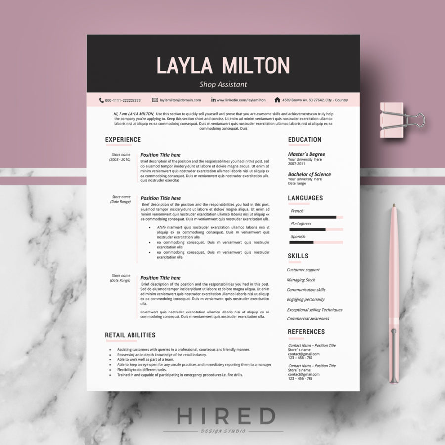 modern resume template for ms word   u0026quot layla u0026quot