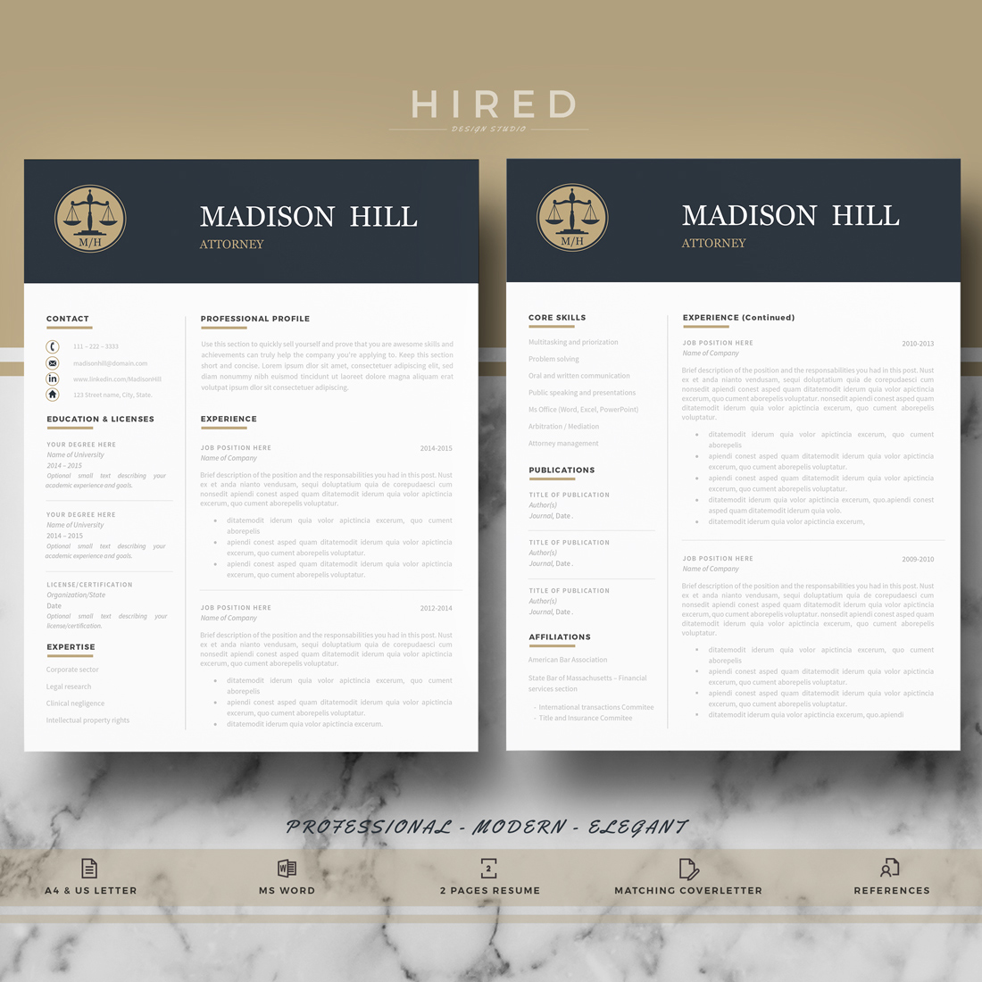 Legal Resume Template Archives - Hired Design Studio