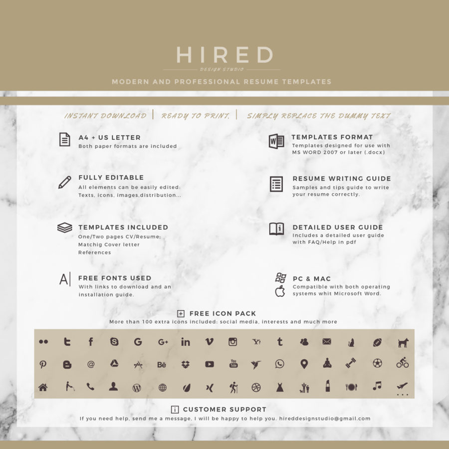 Legal Resume Template For Ms Word Madison  Hired Design Studio