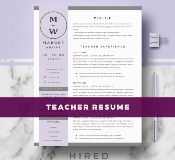 margot - Teaching Resume Format