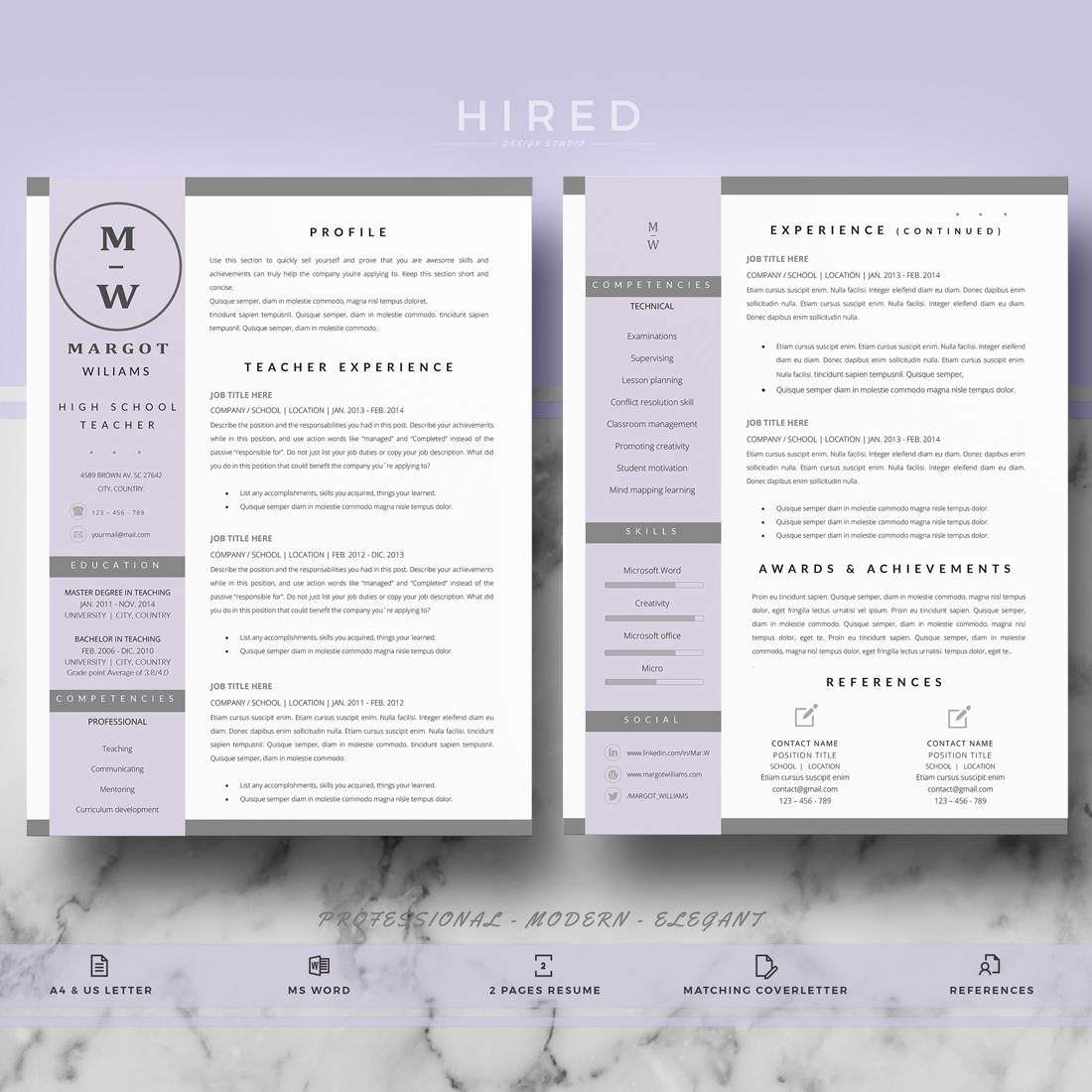 teacher resume template for ms word   u0026quot margot u0026quot