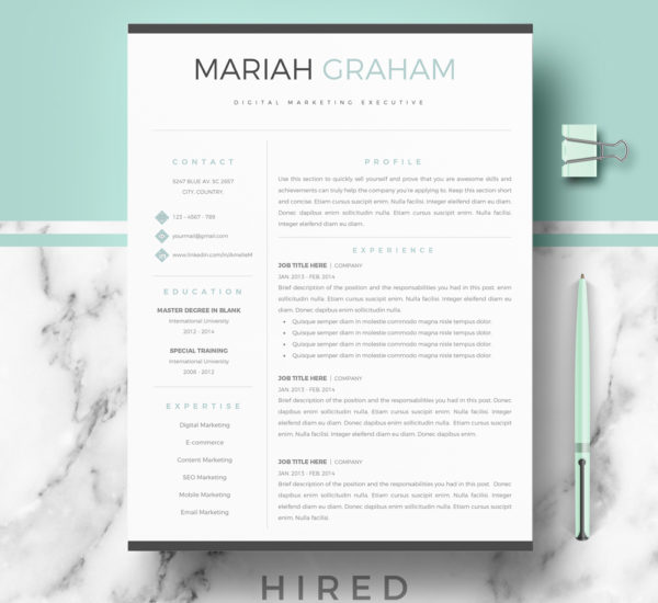 Modern Resume Template · Professional Resume Template. Quick View. U201cMariahu201d