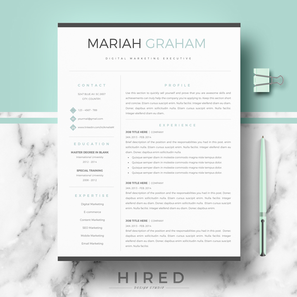 Modern resume template archives hired design studio mariah thecheapjerseys Image collections