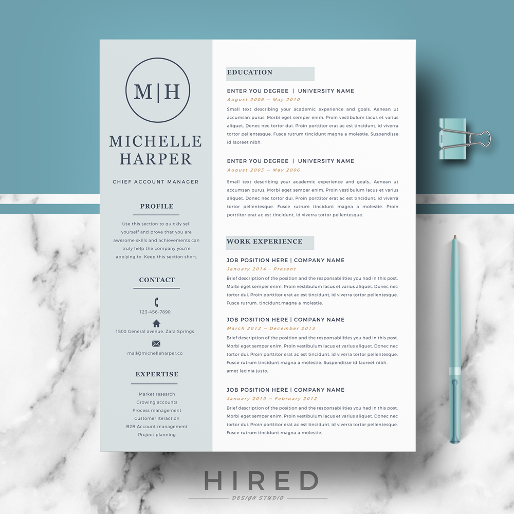 "Free Modern Resume Templates Microsoft Word: ""Michelle"""