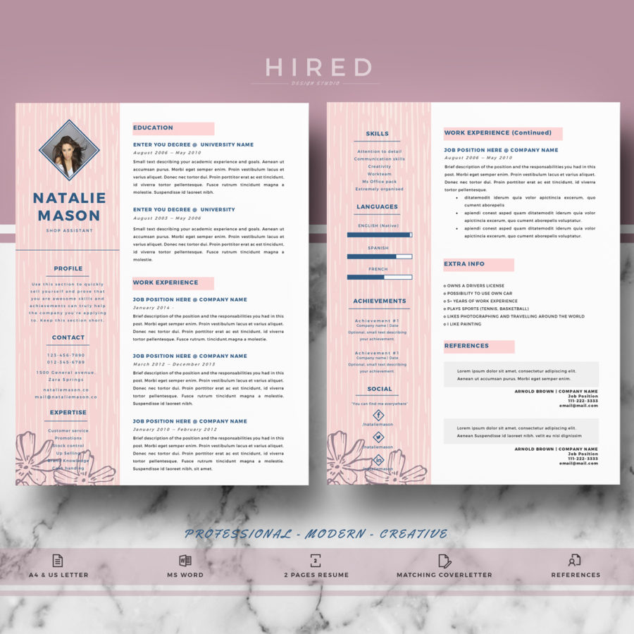 creative resume template for ms word natalie hired design studio. Black Bedroom Furniture Sets. Home Design Ideas
