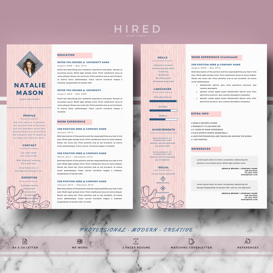 creative resume template for ms word   u0026quot natalie u0026quot