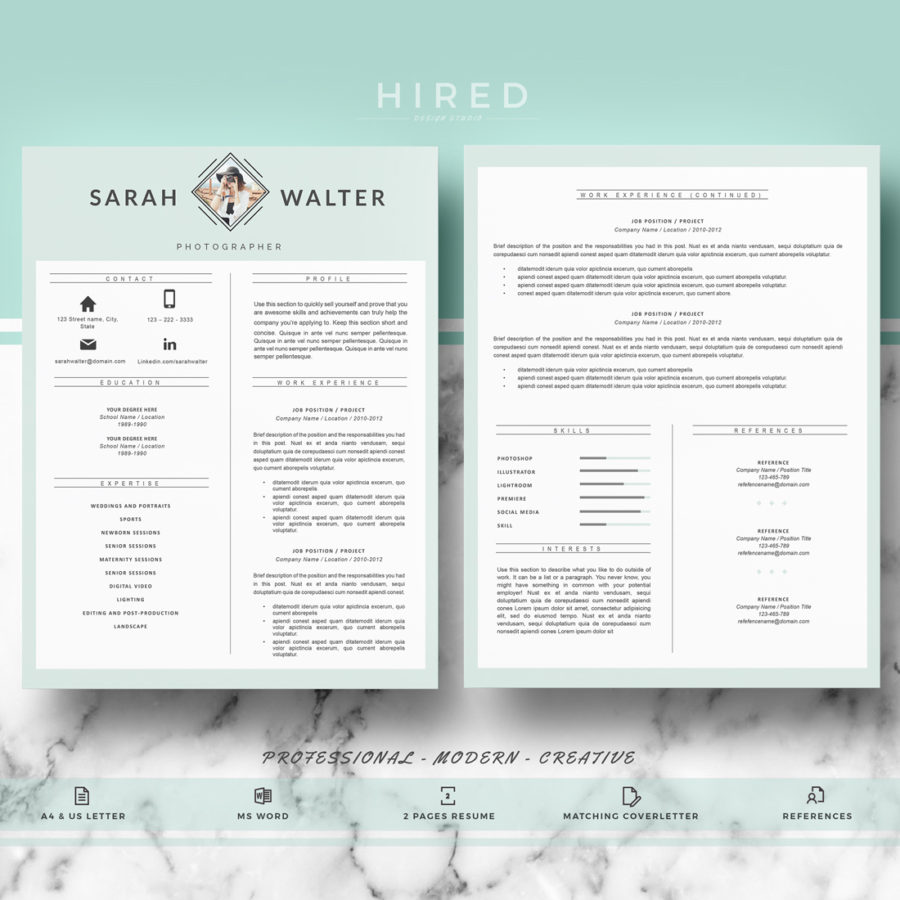 modern resume template archivos hired design studio
