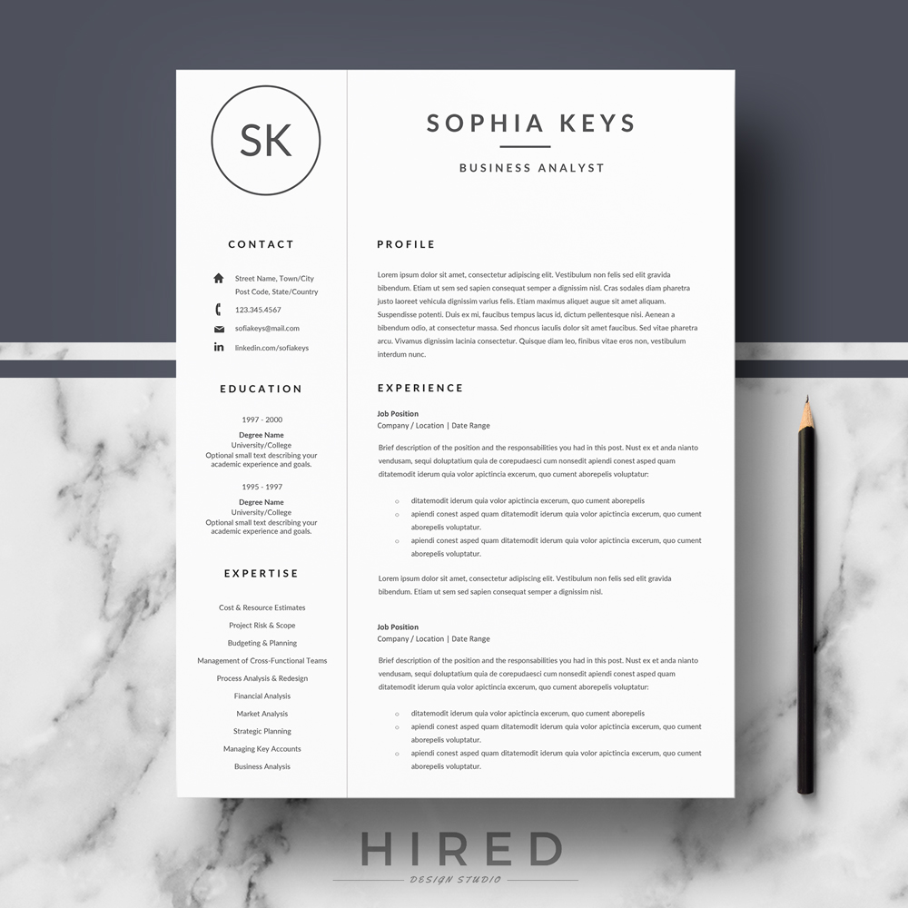 Resume templates hired design studio modern resume template professional resume template quick view altavistaventures Image collections