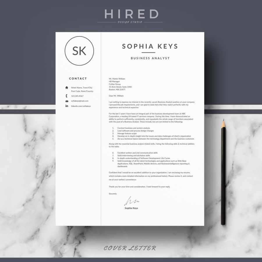 "Professional & Modern Resume Template for MS Word: ""Sophia"""