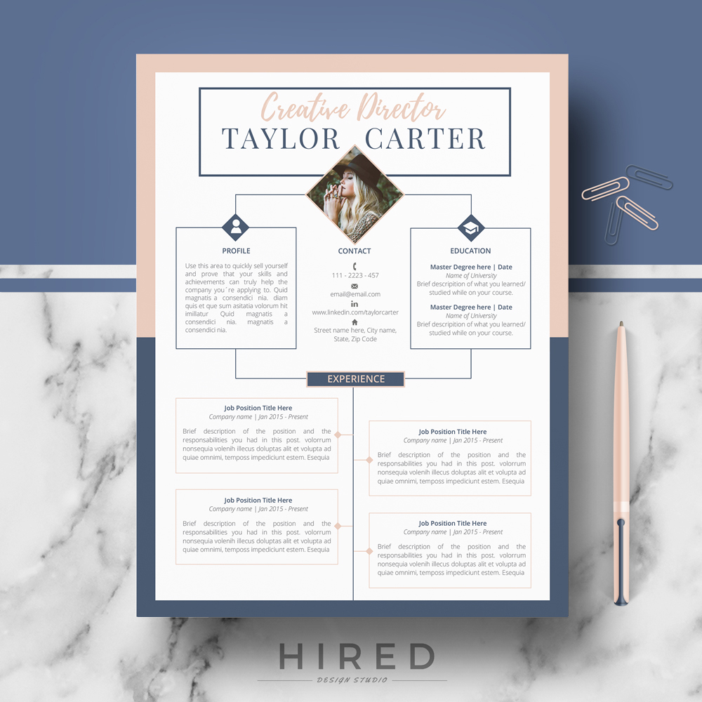 Creative Resume Template Archives  Hired Design Studio